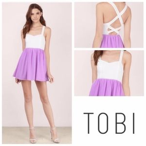 TOBI White & orchid skater dress size s